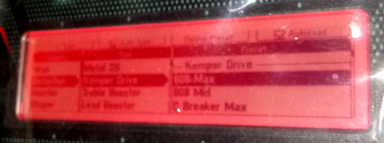 Náhľad na display po uploade Kemper Drive Spomps